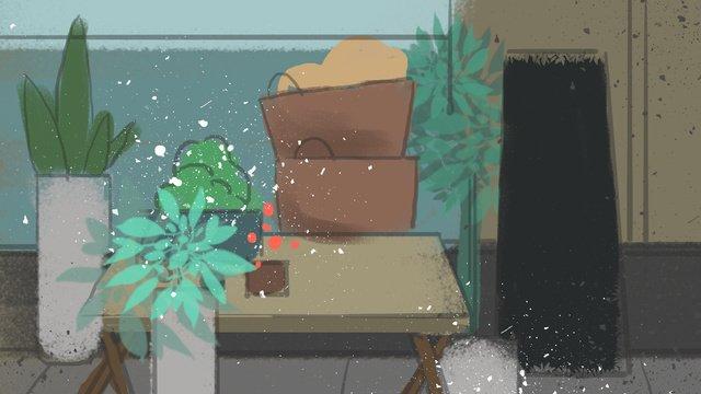 식료품 점 삽화 소재 삽화 이미지