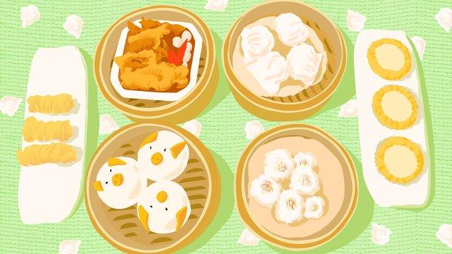 広州料理広東モーニングティーローカルスペシャルフードトラベルイラストレーター イラスト素材