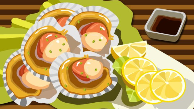 Seafood cuisine illustration, Guangzhou, Seafood, Scallop illustration image