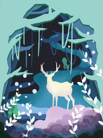 Paper-cut wind hand-painted illustration elk forest cure beautiful, Hand Drawn Business Illustration, Forest, Cure illustration image