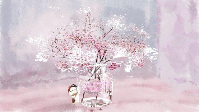 手描きの小さな新鮮な治療イラストの下の桜の木 イラスト素材 イラスト画像