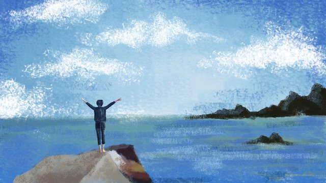 Hand-painted illustration - blue sky and white clouds seaside free self shout, Hand-painted Landscape Architecture, Abstract, Retro Texture illustration image