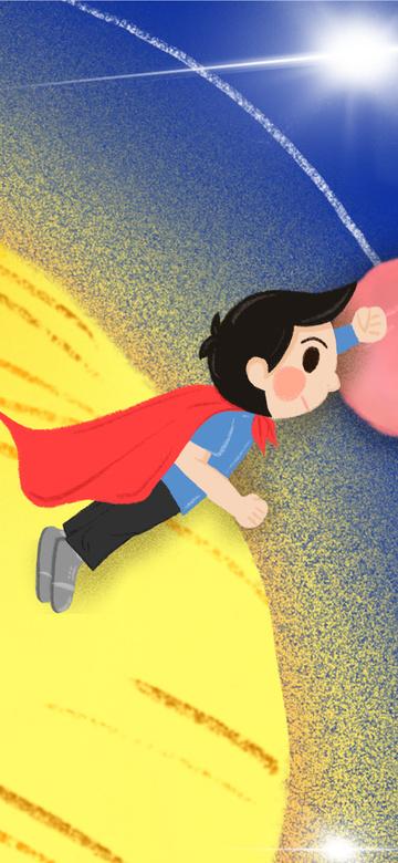 하오 싱 하이 행성과 수퍼맨 어린이 일러스트 레이터 삽화 소재