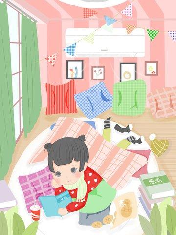 Original illustration happy fat house winter day blowing heating reading girl llustration image illustration image