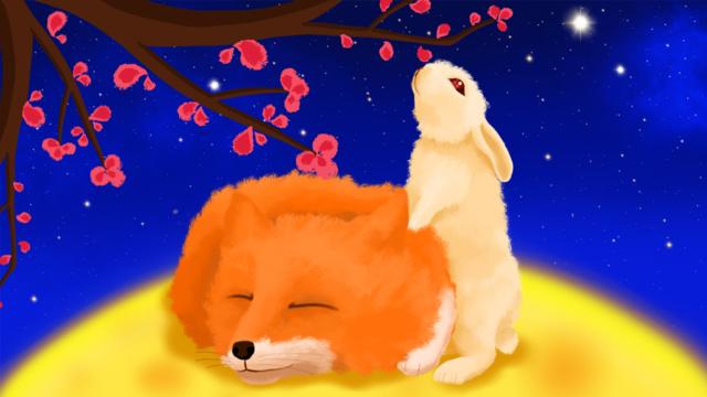 中秋節、fox氏とmiss rabbitのフルムーンツアー イラスト素材