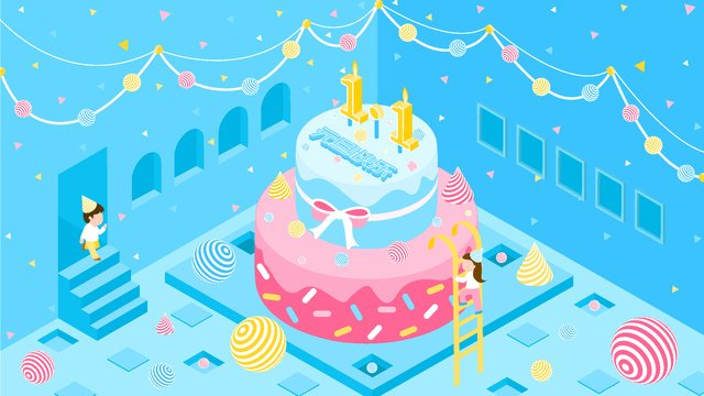 new years day happy little fresh 2 5d vector illustration birthday cake llustration image