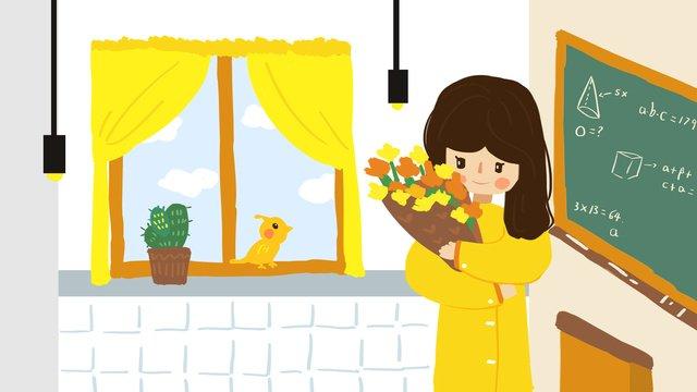 ngày nhà giáo nữ cầm bó hoa minh họa Hình minh họa Hình minh họa