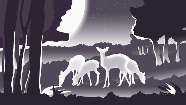 Illustration healing dream forest and deer, Healing, Deer, Forest illustration image