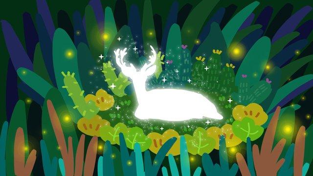 Healing deep forest see deer, Healing, Deer, Plant illustration image