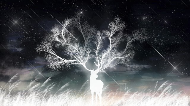癒しの夢美しい星空の流星葦と鹿癒し系  夢  美しい PNGおよびPSD illustration image