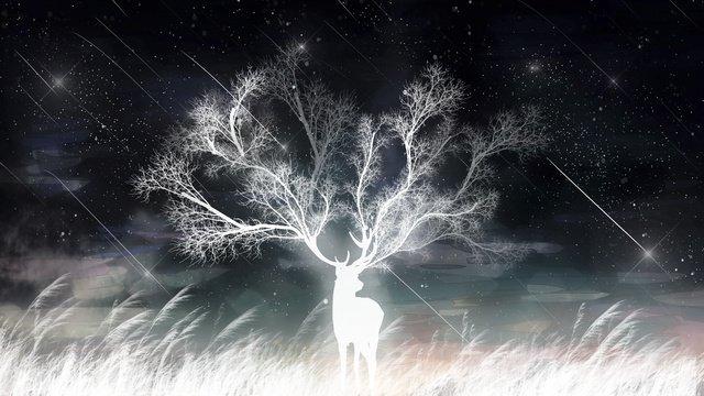 Healing dreams beautiful starry meteor reeds and deer, Healing, Dream, Beautiful illustration image