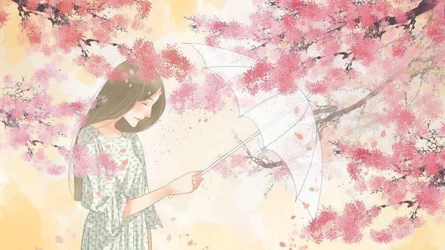 एक छाता पकड़े लड़की के साथ रोमांटिक खिलते हुए फूलों को गर्म करना चित्रण छवि