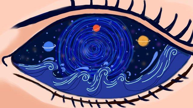 원래 그림은 치유되고 눈은 바다의 별들입니다 삽화 소재 삽화 이미지