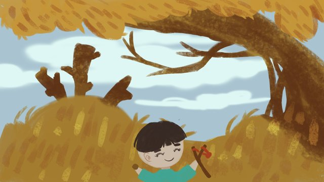Autumn hello illustration, Hello Autumn, Autumn Illustration, Picture Book Illustration illustration image