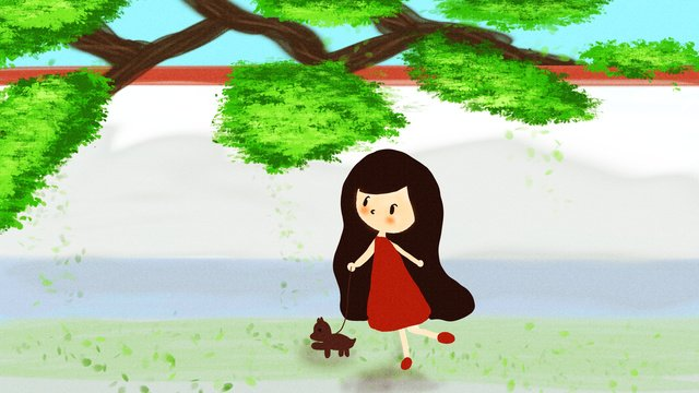 おはようございます朝犬と散歩しますオリジナルアニメのイラストです イラスト素材 イラスト画像