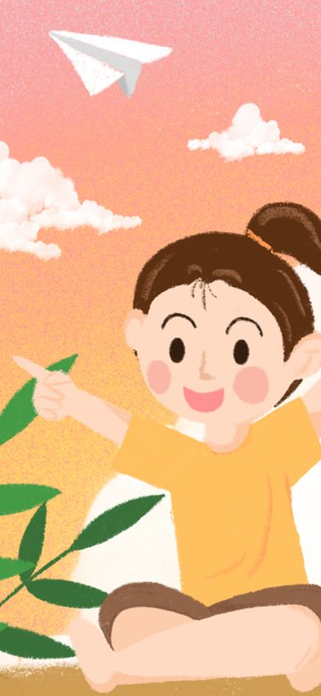 Hello good night dreamy sunset paper plane girl illustration llustration image