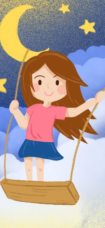 Hello good night fresh dream sky swing girl illustration, Hello Goodnight, Illustration, Background illustration image