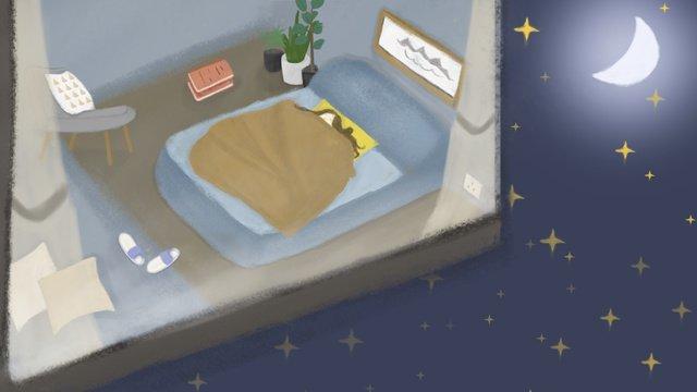 Hello good night illustration, Hello Goodnight, Room, Go To Bed illustration image