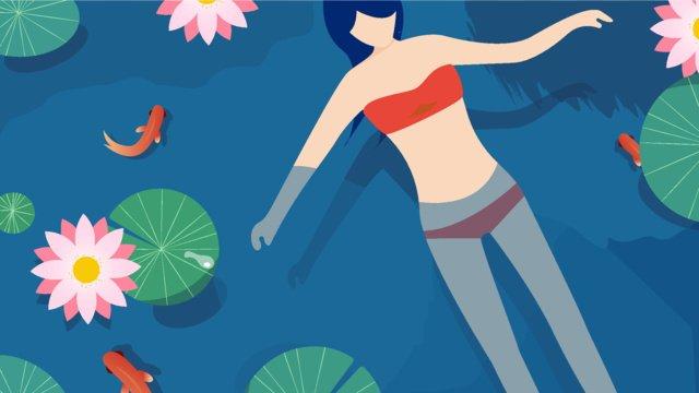 연꽃 연못에서 여름 헬로우 수영 삽화 소재 삽화 이미지