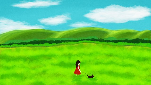 おはようございます野原で犬を散歩する女の子のオリジナルイラストです イラスト素材