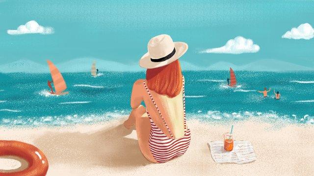 こんにちは8月の海辺の少女新鮮なイラスト イラスト素材 イラスト画像