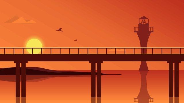 こんにちは、8月の夕日に海を渡る橋 イラスト素材 イラスト画像