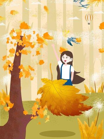 가을여보세요 소녀 그림 삽화 소재