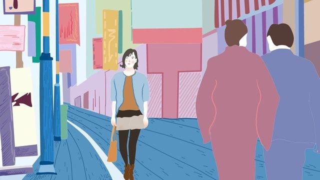여보세요 9 월의 거리 군중 쇼핑 삽화 소재 삽화 이미지