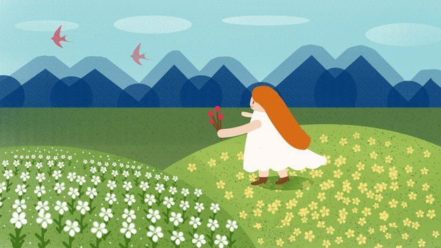 Hello in september a small fresh flower the sea to observe swallow girl illustration, Hello There, September, Hello Series illustration image