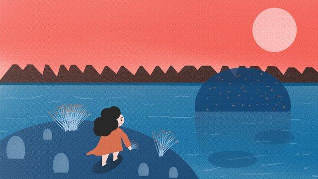 small fresh hello september seaside scenery girl wallpaper poster illustration llustration image illustration image