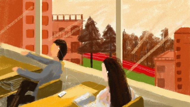高校キャンパス教室コーナーオリジナルイラスト イラスト素材