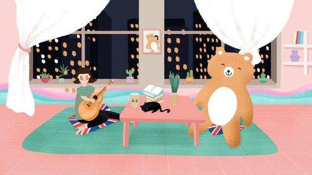 original illustration home life girl and bear llustration image illustration image
