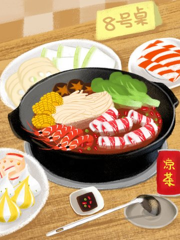 Winter hot pot of beef and llustration image