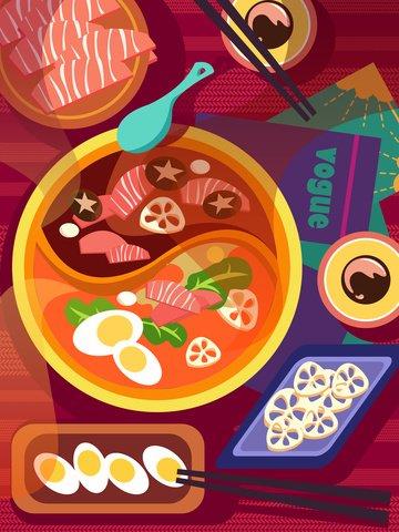 Winter food delicious hot pot feast flat illustration, Hot Pot Feast, Lamb, Seasoning illustration image