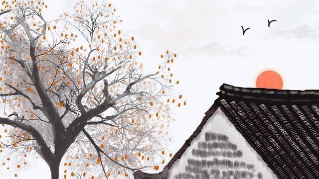 Chinese style autumn harvesting fruit huizhou architecture hand painted illustration llustration image illustration image