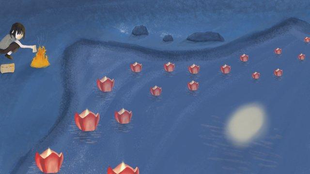 Чжунъюань Фестиваль river light Иллюстрация Ресурсы иллюстрации Иллюстрация изображения