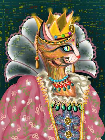 皇妃王妃貴族の女王様を身に着けている印象油絵猫女王 イラスト画像
