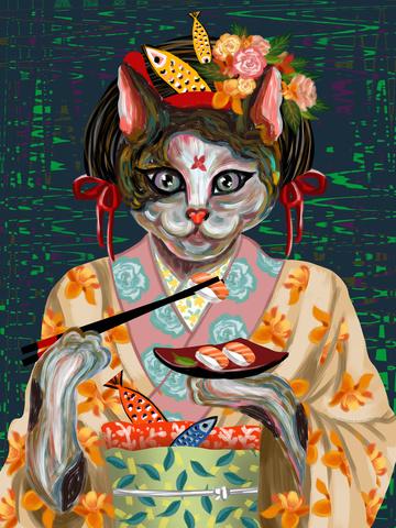 喵记印象油絵日本の猫着物を食べる寿司鮭 イラスト画像
