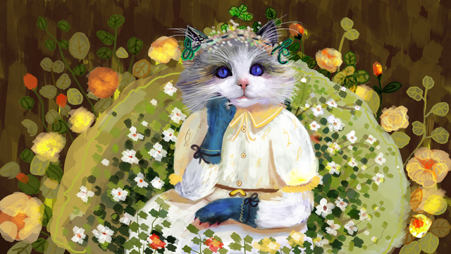 oil记印象油絵手描きのかわいい人形猫イラスト イラスト素材 イラスト画像