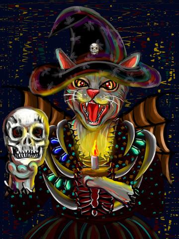 喵メモ印象油絵魔女猫悪骷髅ハロウィンセレモニー イラスト画像