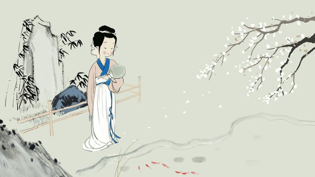 Chinese style ink painting ancient girl watching fish, Ink, Chinese Style, Ancient illustration image
