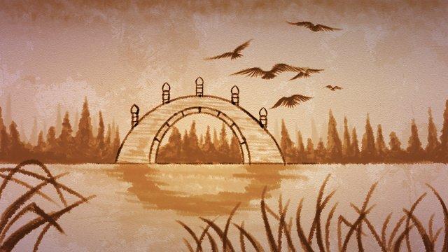 中国風の秋の風景インク  中華風  橋 PNGおよびPSD illustration image