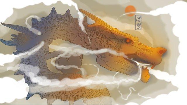 インテグリティドラゴン中国風誠実さ  ただ  中国のドラゴン PNGおよびPSD illustration image