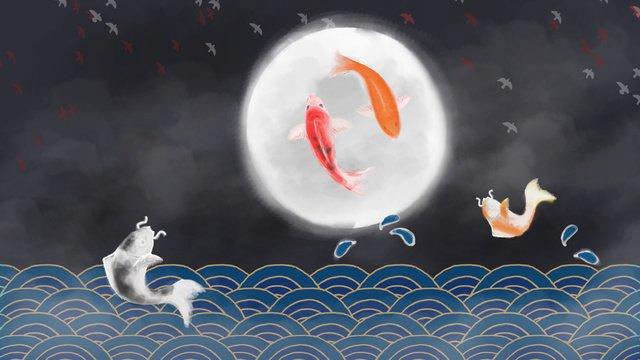 錦鯉中國風插畫 插畫素材