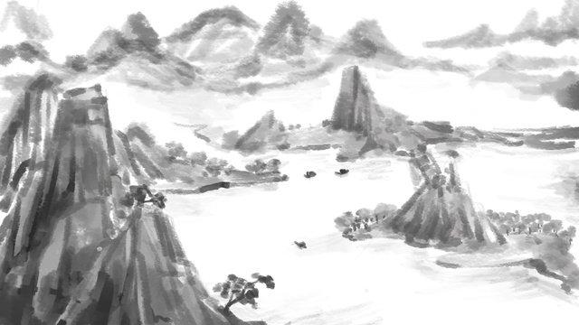수묵 산수 풍경 수화 삽화 삽화 소재 삽화 이미지