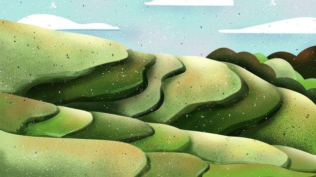 Small fresh terraced original illustration, Landscape, Terraced Field, Small Fresh illustration image