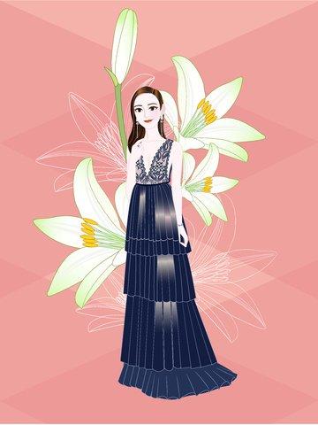 लिली शाम पोशाक लड़की चित्रण चित्रण छवि
