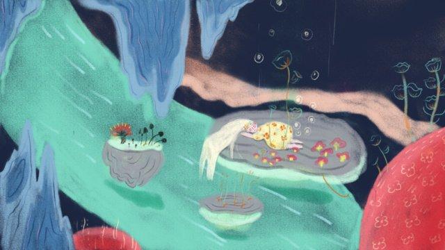 original little girl sleepwalking wonderland llustration image illustration image