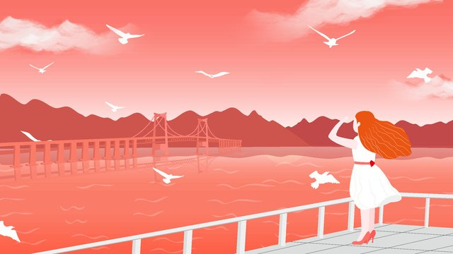 Girl looks out to the sky coral orange illustration, Looking At The Sky, Sea And Sky, Illustration illustration image