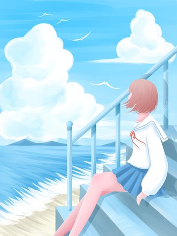 Girl looking out to the sky cure illustrator, Looking At The Sky, Sea, Seaside illustration image